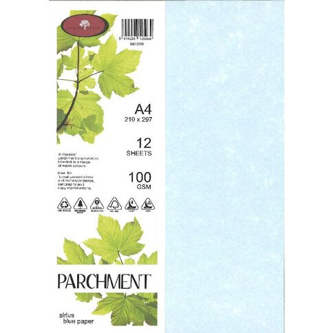 Direct Paper Parchment Paper 100gsm 12 Pack Sirius Blue A4