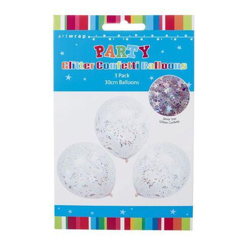 Artwrap Foil Confetti Balloon Silver Glitter 30cm 3 Pack