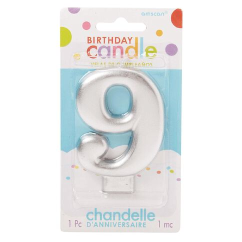 Candle Metallic Numeral #9 Silver