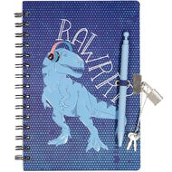 Kookie Dinosaur Moulded Lockable Notebook A5 with Pen