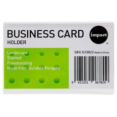 Impact Sign/Menu Holder Slanted Landscape Business Card Clear
