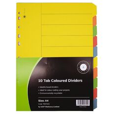 Office Supply Co 10 Tab Coloured Manilla Dividers