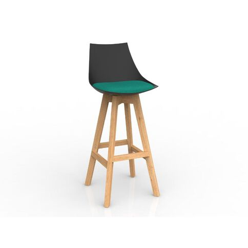 Luna Black Emerald Green Oak Base Barstool