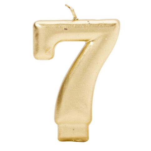 Candle Metallic Numeral #7 Gold