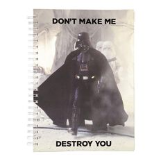 Star Wars Adult Notebook Don't Make Me Destroy You Black A4