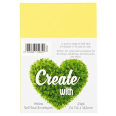 Create With C6 Envelopes 25 Pack Yellow