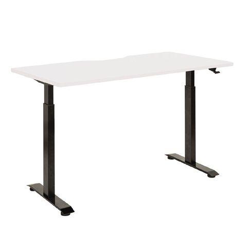 Jasper J Emerge Pneumatic Height Adjustable Scallop Desk 1500 Black/Whit