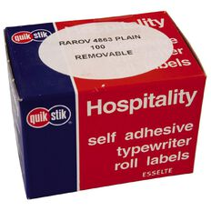 Quik Stik Labels Oval Plain 48mm x 63mm 100 Pack White