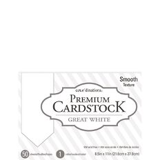 Cordinations Great White 8.5Inch x 11Inch Smooth Cardstock 50 Sheet Pack