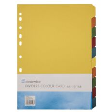 Dividers Card 10 Tab Multi-Coloured A4