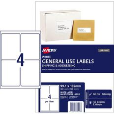 Avery General Use Labels White 400 Labels