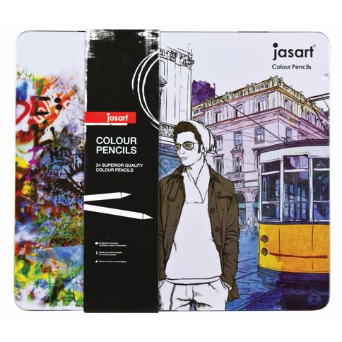 Jasart Coloured Pencil Tin Set 24 Pack 24 Pack