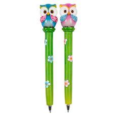 Novelty Pen Owls Pink/Blue Assorted