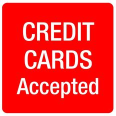 APLI Self Adhesive Credit Cards Accepted Red/White