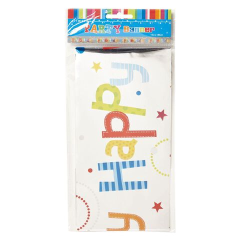 Artwrap Happy Birthday Foil Banner 12.5cm x 180cm