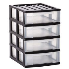 Taurus Storage Drawers 4 Tier Grey A4