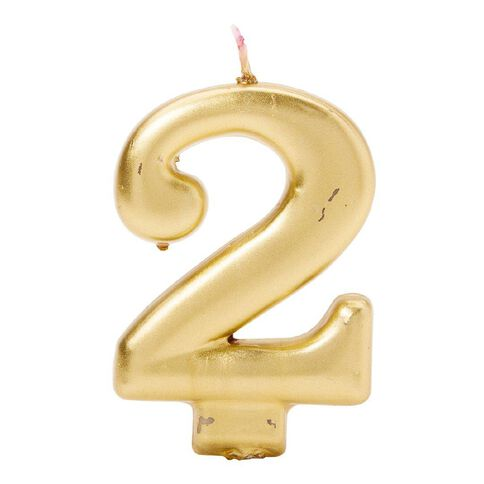 Candle Metallic Numeral #2 Gold