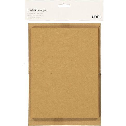 Uniti Cards & Envelopes Kraft 25 Pack