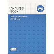 WS Analysis Book Limp 10 Column Blue A4