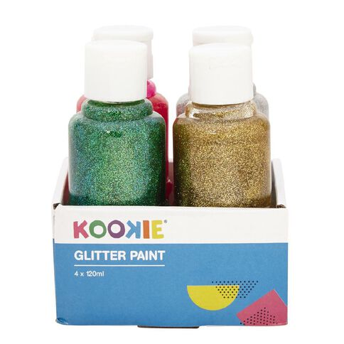 Kookie Acrylic Paint Glitter 120ml 4 Pack
