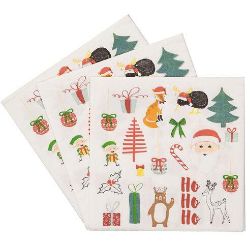 Wonderland Christmas Napkins 3 Ply 33cm x 33cm 30 Pack