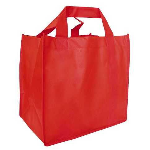 Red Reusable Non Woven Grocer Bag with Base 5 Pack