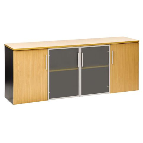 Jasper J Emerge Credenza Wood/Glass Doors 1800 Beech/Ironstone