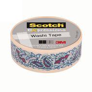 Scotch Washi Craft Tape 15mm x 10m Mint Flowers