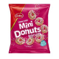 Griffin's Mini Donuts Biscuits Pink Iced 80g