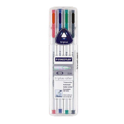 Staedtler Triplus Roller Pen Wallet Of 4 Mixed Assortment
