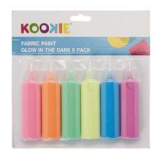 Kookie Fabric Paint Glow Multi-Coloured 6 Pack