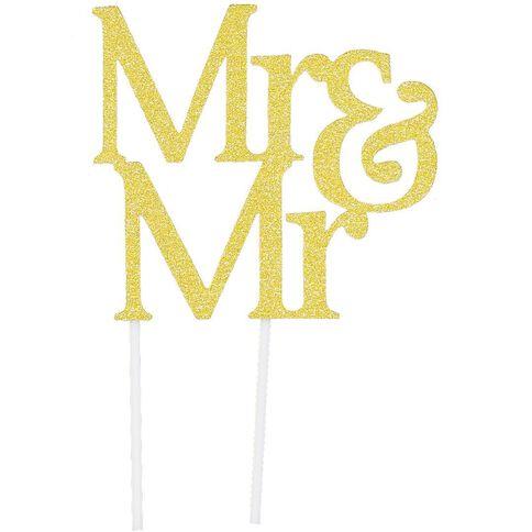 Artwrap Cake Topper Mr & Mr Gold Glitter