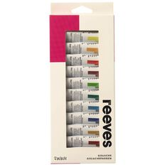 Reeves Paint Set Gouache 12 Pack Multi-Coloured