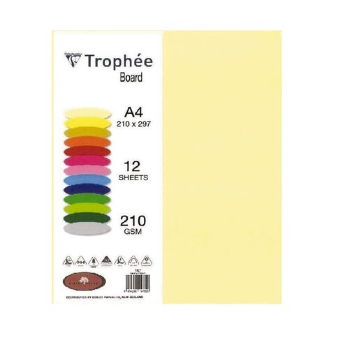 Trophee Board 210gsm 12 Pack Canary Yellow A4