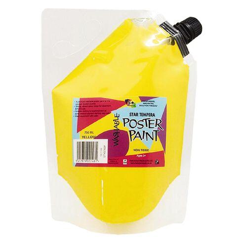 Fivestar Tempera Poster Paint Yellow 1.5 litre Pouch