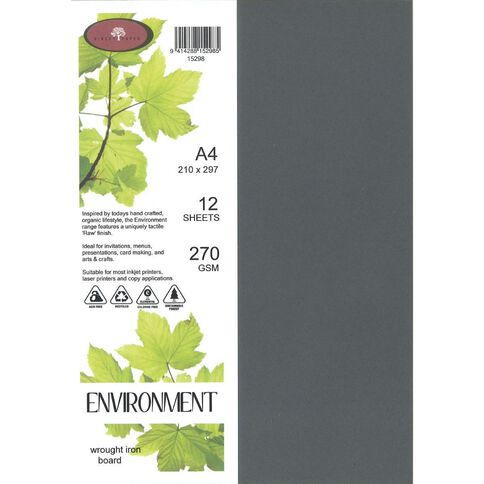 Direct Paper Enviro Board 270gsm 12 Pack Wrought Iron Grey A4