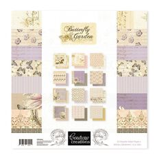 Couture Creations Butterfly Garden Paper Pad 24 Piece 12in x 12in