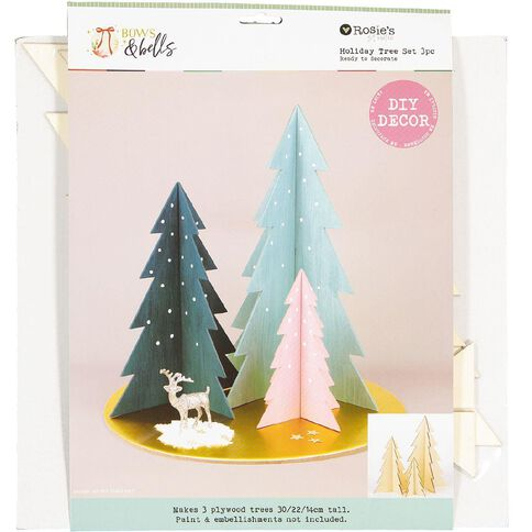 Rosie's Studio Bows & Bells Standing Tree Set 3 Pack