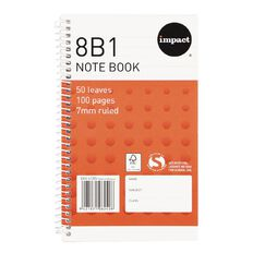 Impact Note Book 8B1 7mm Ruled Spiral 50 Leaf Orange
