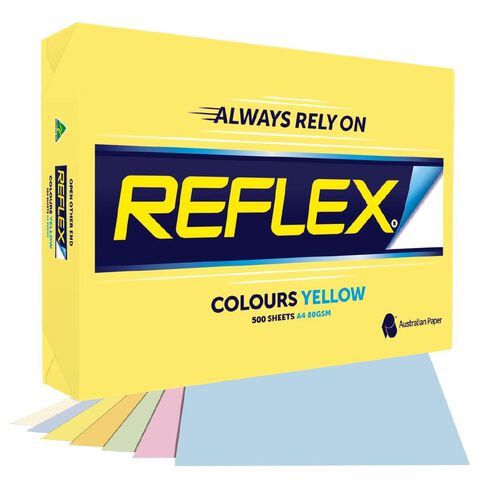 Reflex Paper 80gsm Tints 500 Pack Yellow A4