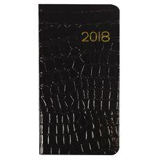 Diary 2018 Slimline Week To View Shinny Croc Black