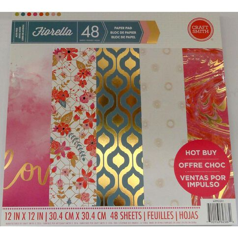 Craft Smith Paper Pad Bella Flora Foil 12in x 12in 48 Sheet
