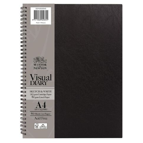 Winsor & Newton Visual Diary Sketch & Write 110gsm A4 60 Sheets Black