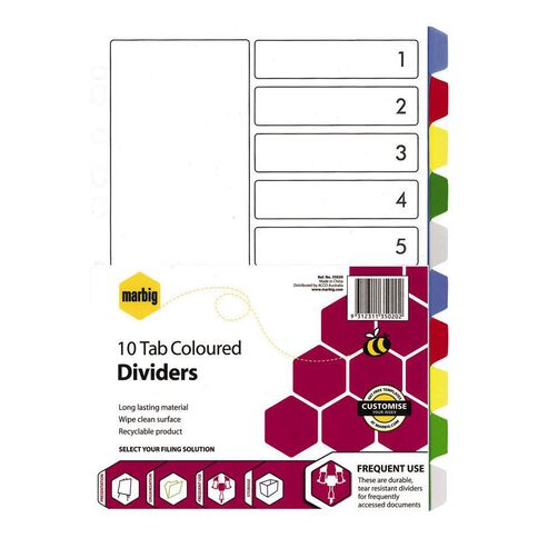 Marbig Divider 10 Tab PP Coloured Multi-Coloured A4