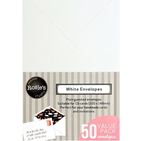 Rosie's Studio Envelopes C6 50 Pack White