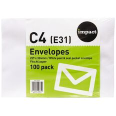 WS Envelope E31/C4 Peel & Seal 100 Pack