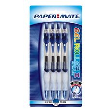 Paper Mate Pen Gel Roller 4 Pack Blue