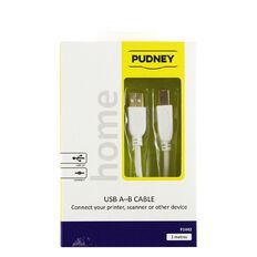 Pudney Printer Cable USB-A to USB-B 2m White