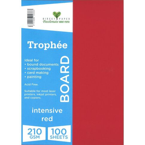 Trophee Board 210gsm 100 Pack Intensive Red A4