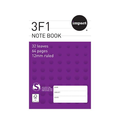 Impact Note Book 3F1 12mm Ruled 32 Leaf